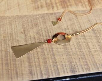 Carnelian necklace & triangle raw brass, semi-precious, fine jewelry, ethnic chic jewel Myo by