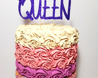 Queen Cake Topper (Birthday, Glitter Decorations, Mother's Day)