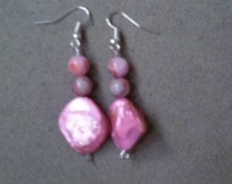 Pink Mother-of-Pearl Diagonal Beaded Earrings