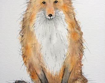 Fox original watercolour painting, fox painting, fox picture, fox watercolour, sitting fox