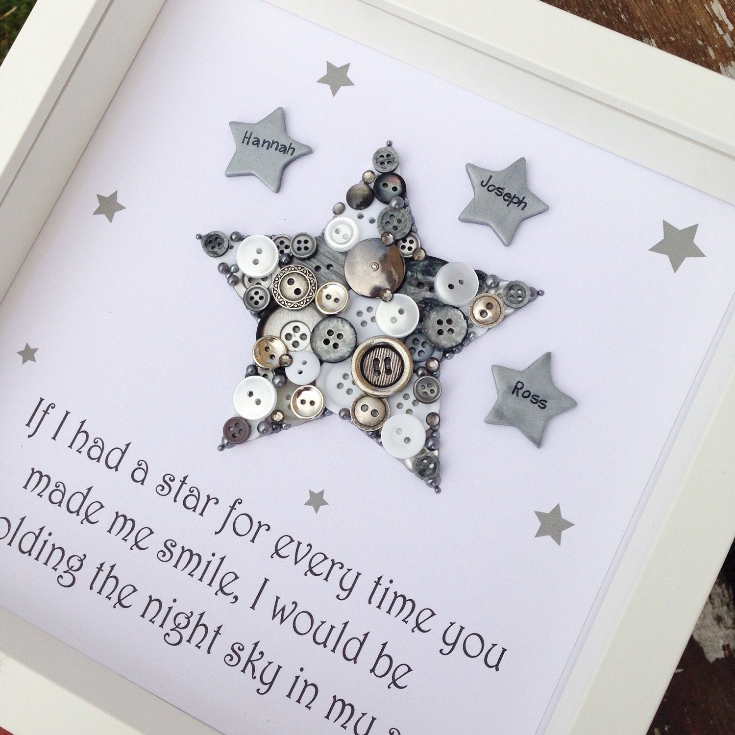 Baby Bedroom In A Box Special: Star Button Art Personalised Framed Star Gifts For Boys