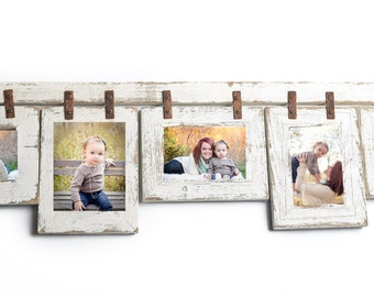 5 Hole 5x7 Picture Frame Collage with Mixed Orientation White Photo Frames Make Up this Beautiful Multi Photo Frame Collage Custom Framing