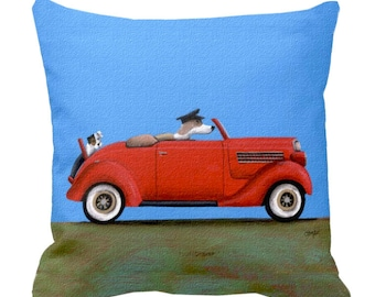 Dogs Driving Otis In Vintage Cars Throw Pillows