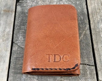 Personalised Kangaroo Leather Trifold Wallet, Mans Leather Wallet, Handmade Trifold Wallet, Hand Stitched Trifold Wallet
