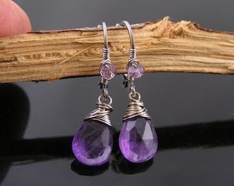 Amethyst Earrings, Wire Wrapped Silver Earrings, February Birthstone Earrings, Amethyst Jewelry, Purple Earrings, Handmade Jewelry, E2082