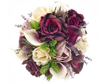 Stemple's Gatherings- A grouping of Artificial Picasso and Plum Calla Lilies, Plum and Ivory Roses,Lavender,Hops - In a vase or as a bouquet