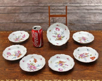 Antique O&EG Royal Austria Porcelain Berry Bowls | Lot of 7 Small Bowls | Floral, Embossed Pattern | Oscar and Edgar Gutherz | Shabby Chic!