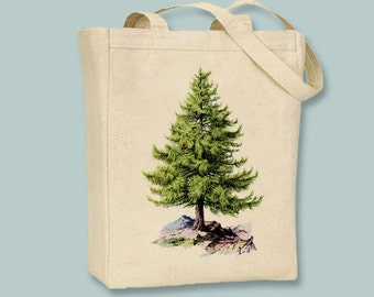 Gorgeous Vintage Pine Tree Canvas Tote -- Selection of sizes available