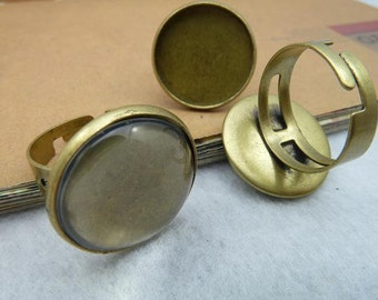 20 Antique Bronze Adjustable Ring with 18mm Round Bezel Cup AC2358