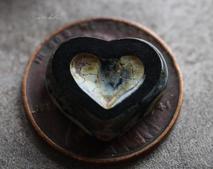 TWILIGHT THUMPER .. 4 Premium Picasso Czech Heart Beads 14x12mm (5672-4)