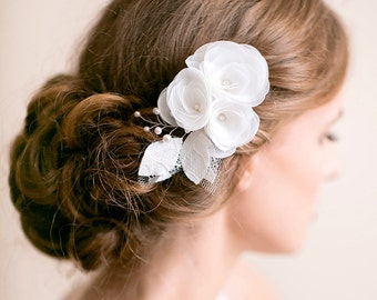 Bridal Hair Piece Ivory or White - Flower Hair Piece - Organza Lace - Wedding Hair Accessories - Bridal Hair Accessories