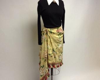 Handmade Asymmetrical Floral Skirt Vintage Fabric XL