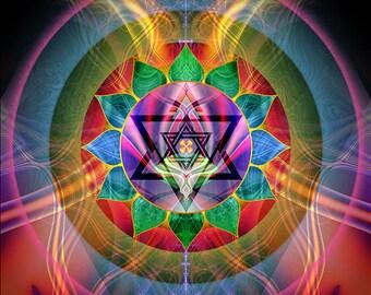 RAY OF LOVE -- Tapestry, Wall Hanging - Original Pumayana Visionary Healing Art, Spiritual, Psy, Shamanic, Sacred Geometry, Entheogenic Art