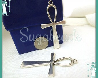 4 Antiqued Silver Ankh Pendants - Egyptian Ankh 56mm, Egyptian Pendants, Key of Life, PS22