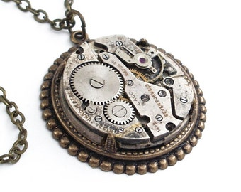Bronze Clockwork Steampunk Necklace Handmade Jewelry