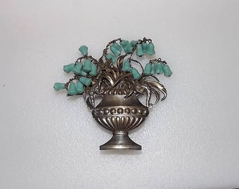 Vintage Basket Pin Dangling Molded Glass Lily of The Valley Flower Beads Rare