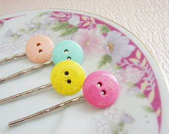 Pastel Bobby Pins, Pastel Glitter Bobby Pin Set, Vintage Sewing Button Hair Pin Set - Candy Shop Glitter