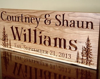 Cabin Sign, Family Name Sign, Lake House Sign, Welcome To The Lake Sign, Carved Wooden Sign, Benchmark Custom Signs, Cherry TL