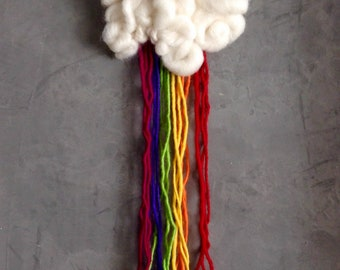 Cloudy Rainbow (Needle Felted Wool Wall Hanging)