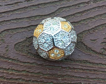 Vintage Jewelry Signed Roman Pin Brooch Soccer Ball