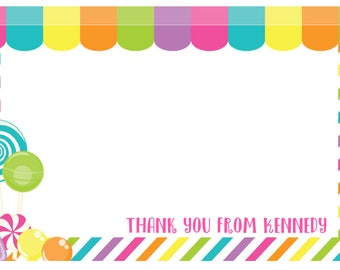 Girl's Candy Thank You Note