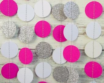 Silver garland, Glitter garland, Pink photo backdrop, Christmas garland, New year eve decorations, Glitter decor, Silver photo backdrop
