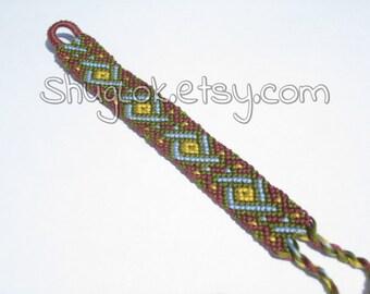 Earth Celtic Twist Friendship Bracelet, Macrame Tribal Aztec Bracelet, Unisex Bracelet, Woven Bracelet, Boho Bohemian Bracelet, Muted Colors