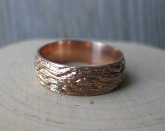 Rose Gold OAK wood grain wedding band 14 kt gold woodgrain rings faux bois Made to Order mens