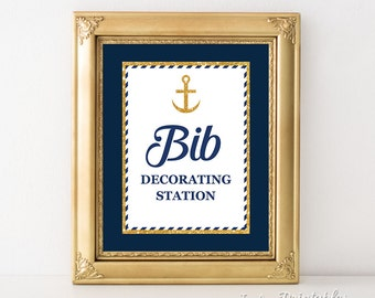 Nautical Bib Decorating Station Sign, Navy Blue & Gold Anchor, Baby Boy Shower Sign, INSTANT PRINTABLE