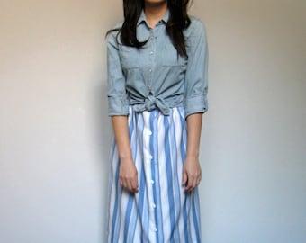 Striped Skirt Blue White Knee Length 70s Vintage Simple Summer Skirt - Medium M