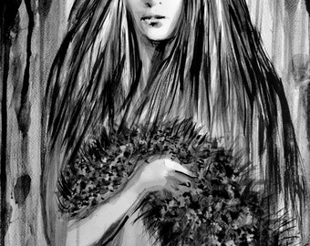 Watercolor girls painting, Fashion girl, Girl fashion model with fur, ORIGINAL sumi-e ink wash painting, contemporary art, Alex Solodov