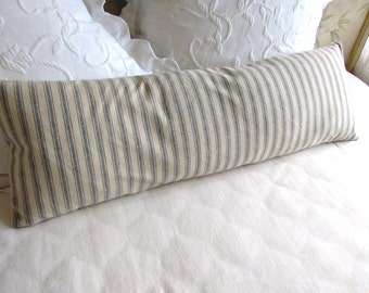 very french ticking bolster pillow daybed size 11x36 in 1/2 inch blue 0n neutral stripes