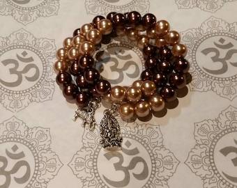 Mala bracelet, 54 bead mala, memory wire bracelet, wrap bracelet, brown glass pearls, wrap bracelet, yoga bracelet, Hindu mala beads