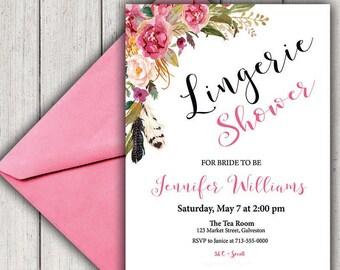 BRIDAL SHOWER Invitation, LINGERIE Shower Invitation, Bohemian Bridal Shower, Printable Bridal Shower, Boho Chic Bridal, diy, B100