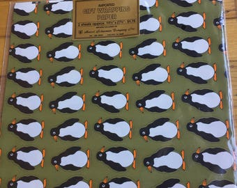 Penguin Pals on Gold Vintage Wrapping Paper Imported by Marcel Schurman