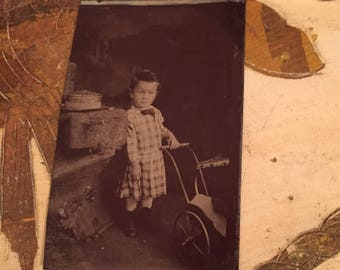 Little William Antique Tintype Boy Dress Boater Straw Hat Toy Cart
