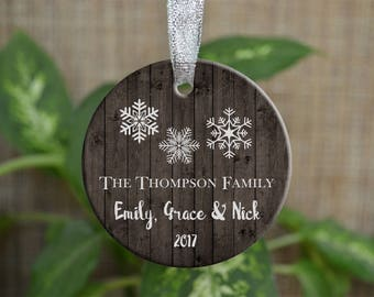 Personalized Christmas Ornament, Our First Christmas as a family ornament, Custom Christmas Ornament, Snowflake ornament, Christmas gift. 80