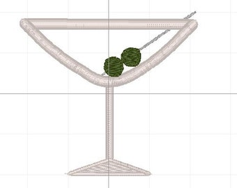 Martini glass applique 4x4 5x7 6x10