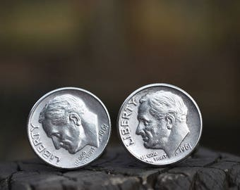 Cufflinks.....Roosevelt Silver dime cufflinks crafted from authentic .90 silver 1961 Roosevelt dimes for the Patriot in your life
