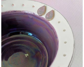 Porcelain ring dish porcelain jewelry bowl earring bowl purple ring dish purple pottery jewelry storage gift for her