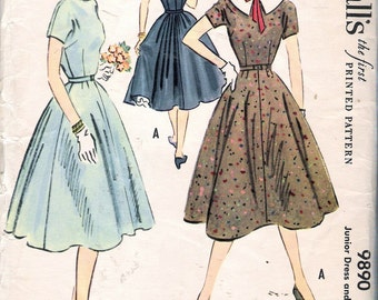 "Vintage 1954 McCall's 9890 Junior Dress & Petticoat Sewing Pattern Size 13 Bust 31"" UNCUT"