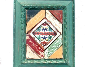 Reclaimed Wood Art, Geometric Mosaic, Framed Talavera Tile, Wooden Triangles, Mixed Media Mosaic, Yellow Green, Red, Wall Art, Rustic Decor
