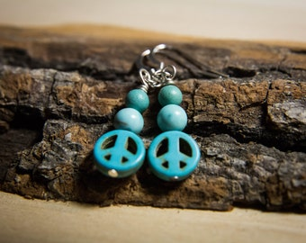 Small Turquoise Dyed Peace Sign Bead Earrings