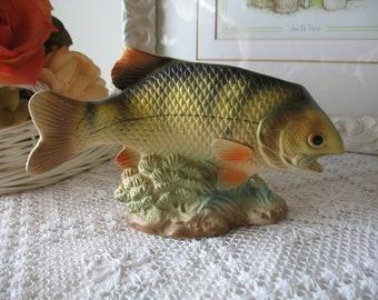 Ceramic rainbow trout. Fish Japan.Planteur vase.