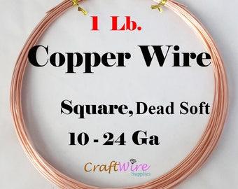 1 Lb Copper Square Wire, Dead Soft, 10 - 24 Gauge, Wrapping Wire, Jewelry Making, 10 12 14 16 18 19 20 21 22 24 Ga, CDA #110