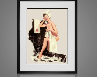 Bathroom Wall Art - Matted and Framed - Vintage Pin-up Girl Print - Free Shipping - In 4 Sizes - Black or White Frame - Retro Wall Art