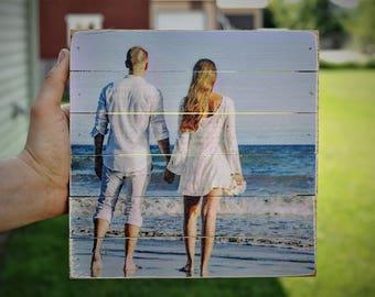 Photo on Wood, Beach Wood Photo. Photo Pallet, Pallet Photo, Rustic Wood Photo, Pallet Art, Wood Photo, Plank Photo, Wedding Photo Wood