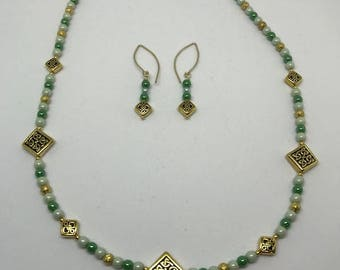 Celtic Antique Gold Diamond Shaped and Czech Bead Necklace and Earrings