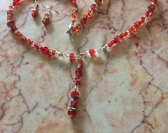 Delicate Red Faceted and Cubed Y Necklace & Earrings Set