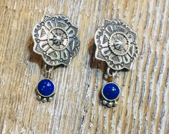 Southwestern Lapis and Sterling  Silver concho earrings in a dangle drop style with clips.
